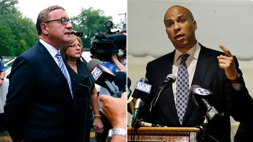 Republican Steve Lonegan , left, and Democratic Newark Mayor Cory Booker, right.  will face off in an October special U.S. Senate election after winning their parties' primaries.