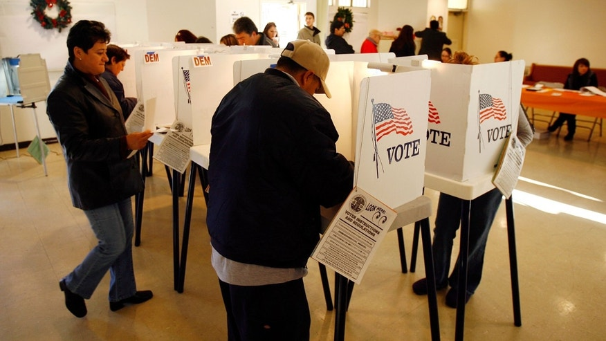 LOS ANGELES, CA - FEBRUARY 05:  Voters go to the polls for Super Tuesday primaries in the predominantly Latino neighborhood of Boyle Heights on February 5, 2008 in Los Angeles, California. Latinos are an increasingly important factor in California where they are expected to account for 14 percent of the vote and tend to favor presidential hopeful Sen. Hillary Clinton (D-NY) over rival Sen. Barack Obama (D-IL). At 44 million, Latinos make up15 percent of the US population, the nation's largest minority group according to the latest Census Bureau estimates.  (Photo by David McNew/Getty Images)