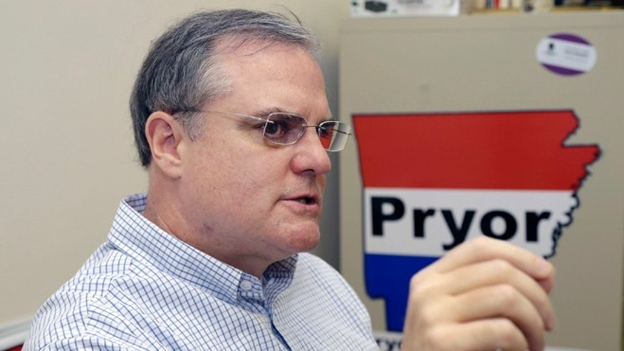 FILE: Aug. 2, 2013: Sen. Mark Pryor at his campaign office in Little Rock, Ark.