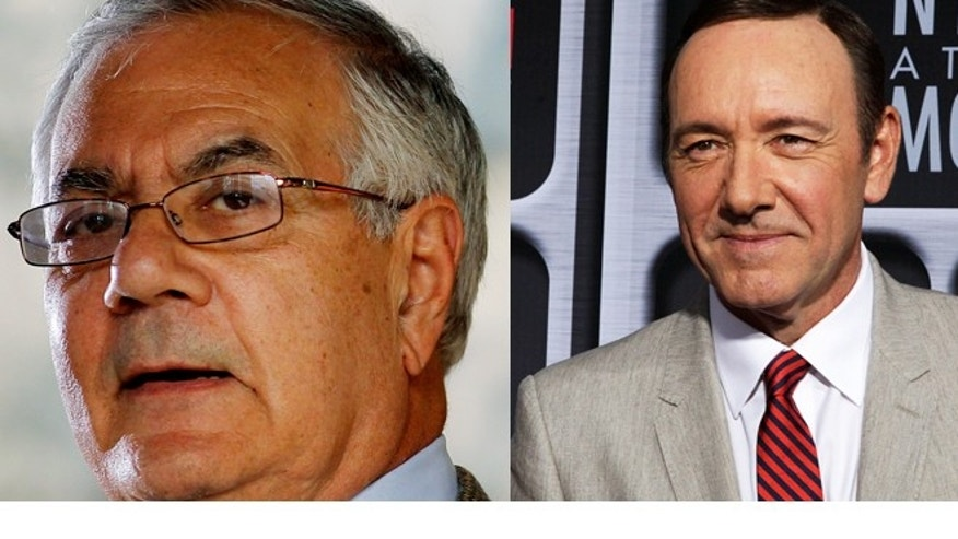 FILE: Undated: Former Rep. Barney Frank, D-Mass., and actor Kevin Spacey.