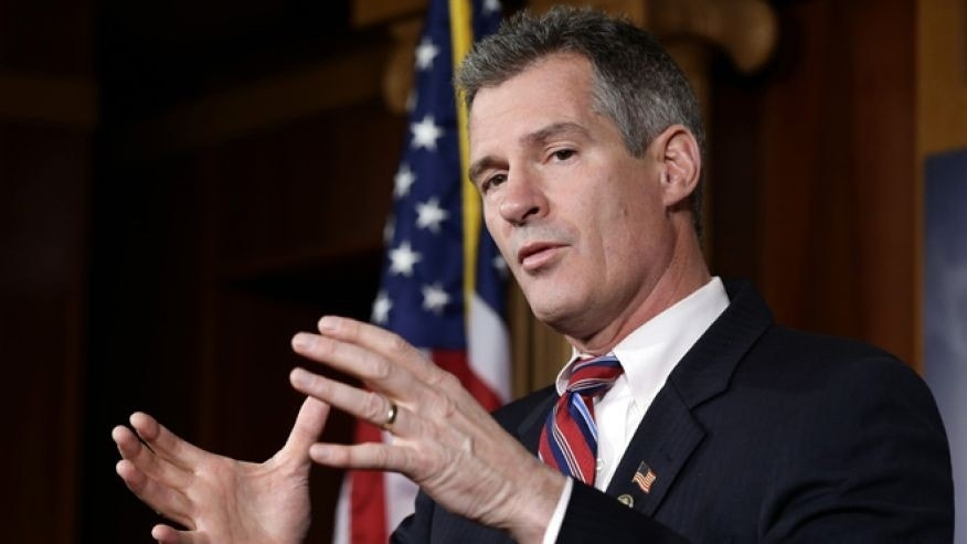 Nov. 13, 2012: In this file photo, Sen. Scott Brown, R-Mass., speaks during a media availability, on Capitol Hill in Washington. (AP)