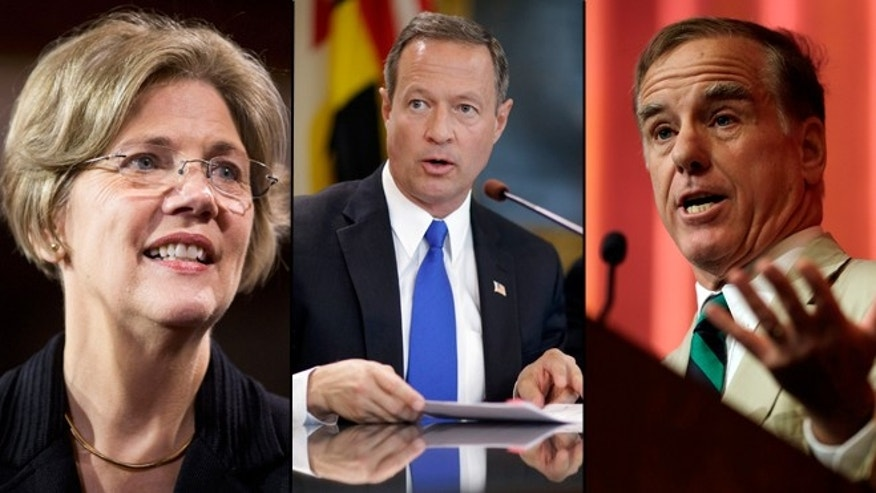 Shown here are Massachusetts Sen. Elizabeth Warren, left; Maryland Gov. Martin O'Malley; and former Vermont Gov. Howard Dean.