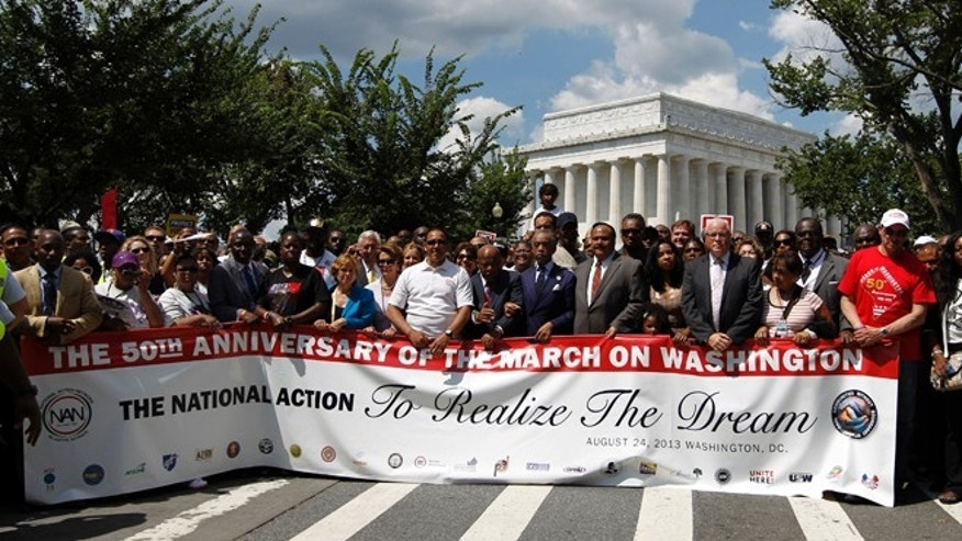 Aug. 24, 2013: House Minority Leader Nancy Pelosi, of Calif., among march at Lincoln Memorial during the rally  to commemorate the 50th anniversary of the 1963 March on Washington. D.C.