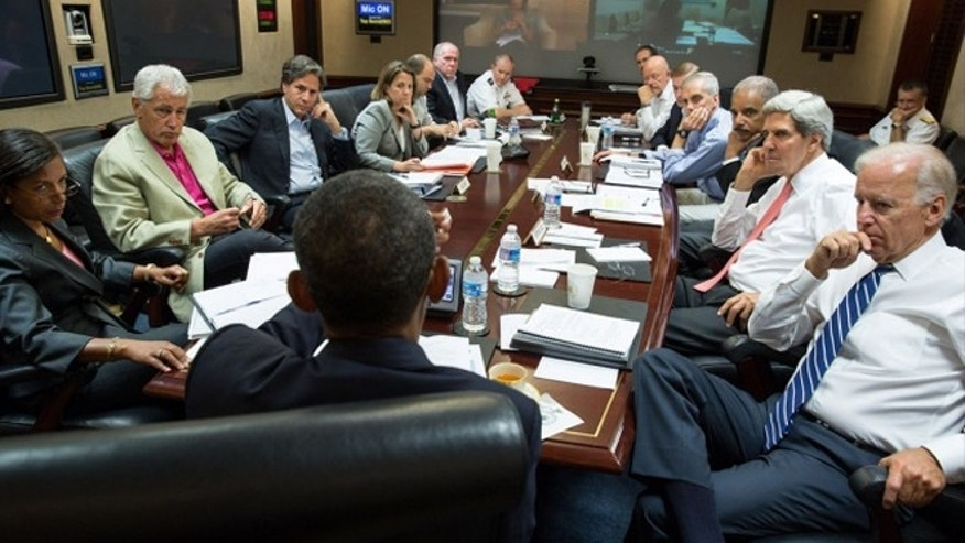 FILE: Aug. 31, 2013: President Obama meets in the Situation Room with his national security advisers to discuss strategy in Syria, in Washington, D.C.