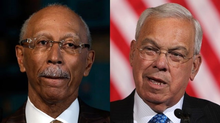 "September 3, 2013: Detroit Mayor Dave Bing, left, and Boston Mayor Thomas Menino. Bing accused his Boston counterpart of insensitivity after Menino told a magazine that if he ever visited the Motor City, he'd ""blow up the place and start all over."" (AP Photo/Paul Sancya, Charles Krupa)"