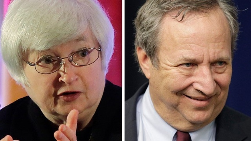 This photo combo shows Fed Vice Chair Janet Yellen, left, and former Treasury Secretary Lawrence Summers.