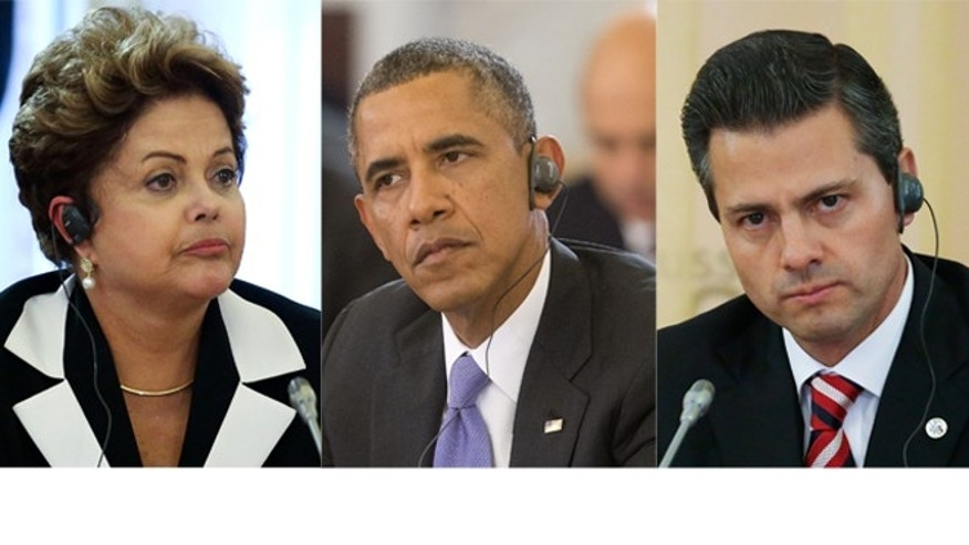 Brazilian President Dilma Rousseff, U.S. President Barack Obama and Mexican President Enrique Peña Nieto (left to right) at he G-20 summit in St. Petersburg, Russia on Thursday, Sept. 5, 2013.