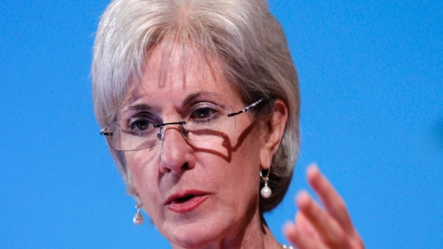 FILE: May 15, 2012: Health and Human Services Secretary Kathleen Sebelius speaks in Bethesda, Md.