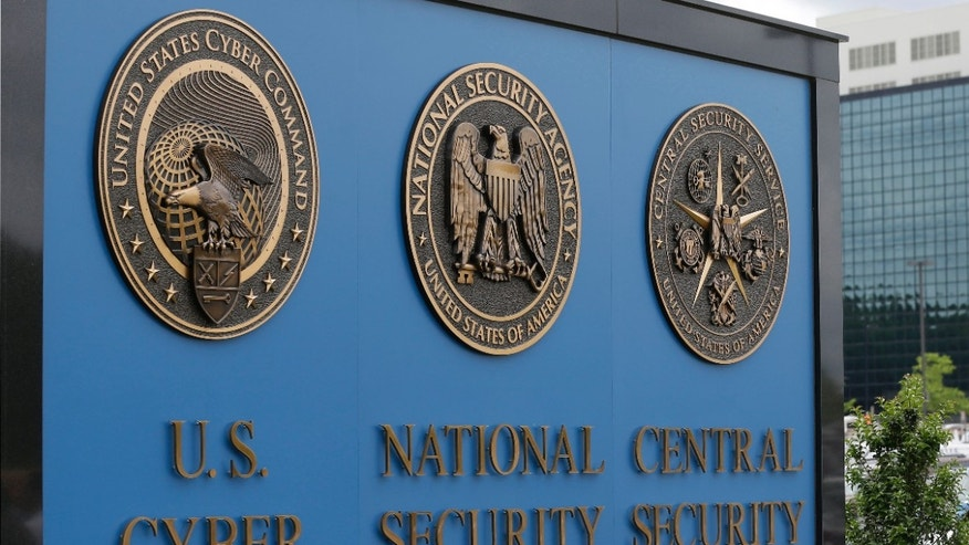 FILE: June 6, 2013: This photo shows the sign outside the National Security Agency (NSA) campus in Fort Meade, Md.