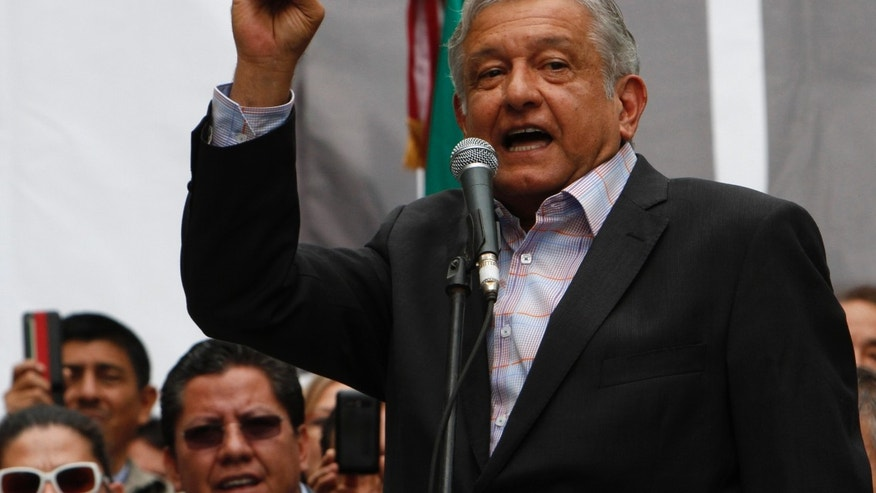 Former presidential candidate Andres Manuel Lopez Obrador speaks to supporters during an act to protest against the governments proposed energy reforms that would allow private companies to explore the country's oil and gas reserves, in Mexico City, Sunday Sept. 8, 2013. The proposed reform requires constitutional changes that strike at the heart of one of Mexico's proudest moments: President Lazaro Cardenas' nationalization of the oil company in 1938. (AP Photo/Marco Ugarte)