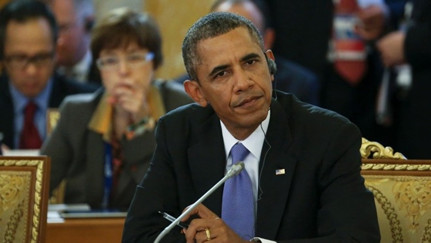 FILE: Sept. 5, 2013: President Obama attends a working session of the G20 Summit in Constantine Palace in Strelna near St. Petersburg, Russia.
