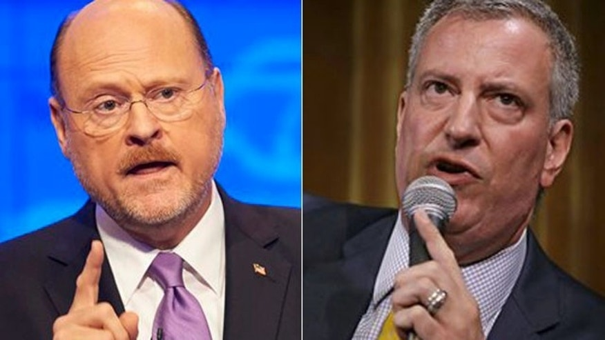 Former NYC deputy mayor Joe Lhota, left, and Public Advocate Bill de Blasio.