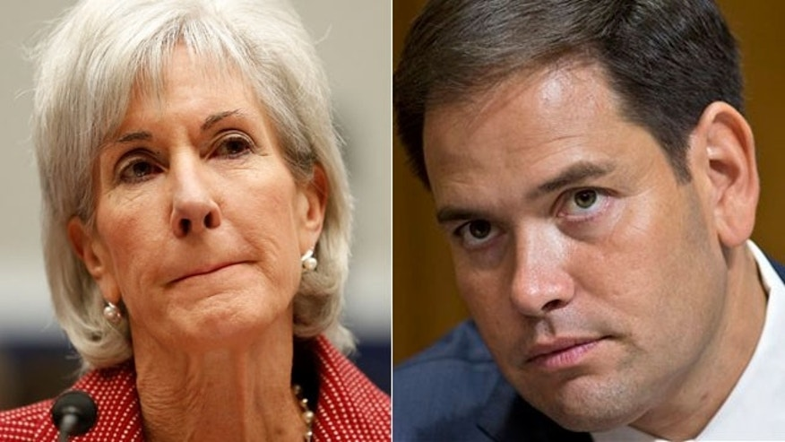 Health and Human Services Secretary Kathleen Sebelius, left, and Sen. Marco Rubio, R-Fla.