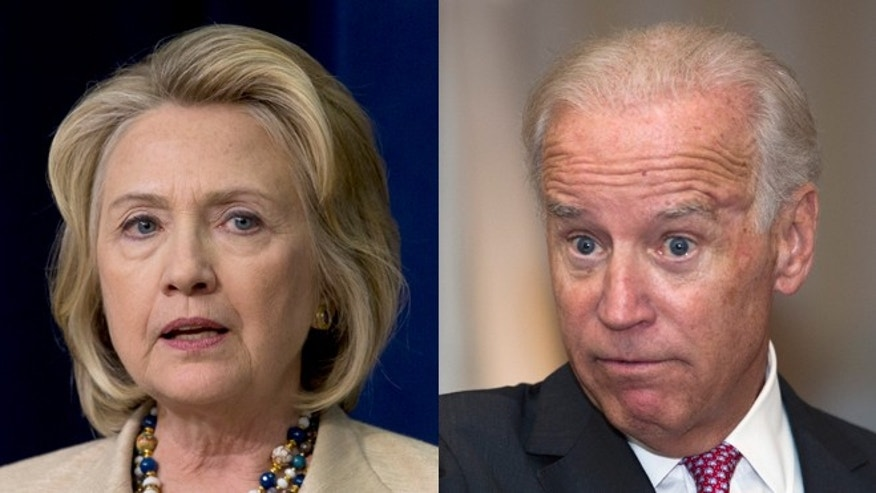 Shown here are former Secretary of State Hillary Clinton and Vice President Joe Biden.
