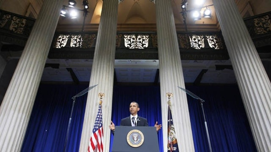 FILE - In the Sept. 14, 2009, file photo President Barack Obama speaks about the financial crisis on the anniversary of the collapse of Lehman Brothers at Federal Hall on Wall Street in New York. (AP Photo)