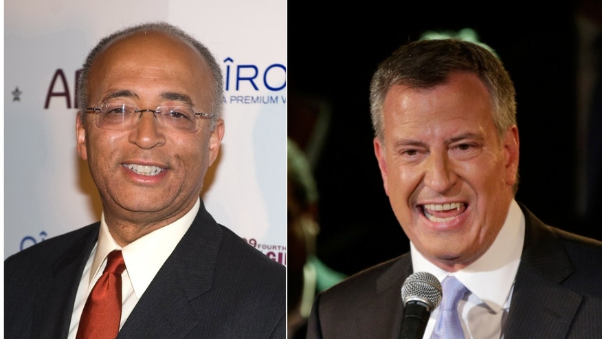FILE photo: Democratic Mayoral candidates Bill Thompson, left,  is seen in this Saturday, Oct. 17, 2009 file photo and Bill De Blasio is seen in this Wednesday, Sept. 11, 2013 photo. AP reports that Thompson will concede the Democratic primary race to de Blasio.
