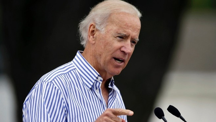 Sept. 15, 2013: Vice President Joe Biden speaks during Iowa Sen. Tom Harkin's annual fundraising steak fry dinner in Indianola, Iowa.