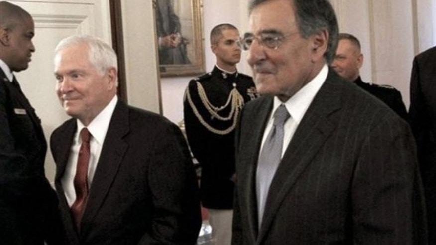 September 21, 2010: Former defense secretaries Robert Gates, left, and Leon Panetta, who was CIA Director at the time.  (AP Photo)