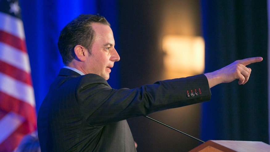 Reince Priebus, chairman of the Republican National Committee, addresses the Spring RNC Meeting in Los Angeles, Calif.