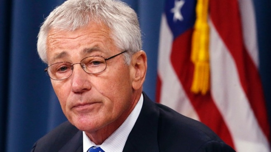 Sept. 18, 2013: Defense Secretary Chuck Hagel speaks during a news conference at the Pentagon.