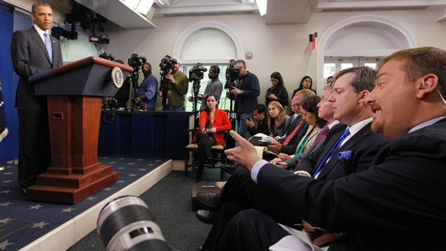 April 30, 2013: President Obama is asked a question by NBC's White House Chief Correspondent Chuck Todd in the Brady Press briefing room at the White House.