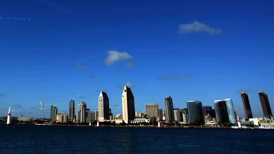 SAN DIEGO - SEPTEMBER 21: A general view of the San Diego skyline as competitors fly in the elimination rounds of the Red Bull Air Race World Series on September 21, 2007 in San Diego, California.  (Photo by Donald Miralle/Getty Images)
