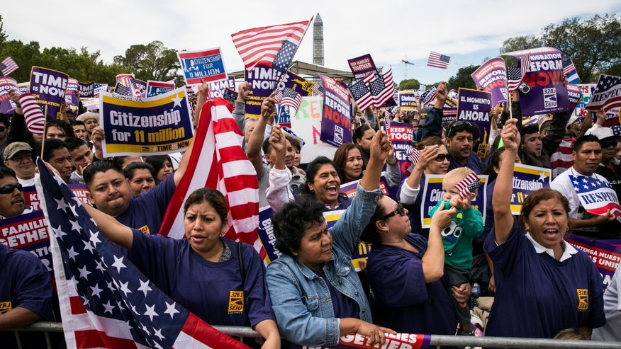 A crowd during a rally in support of immigration reform, in Washington, on October 8, 2013 in Washington, DC.