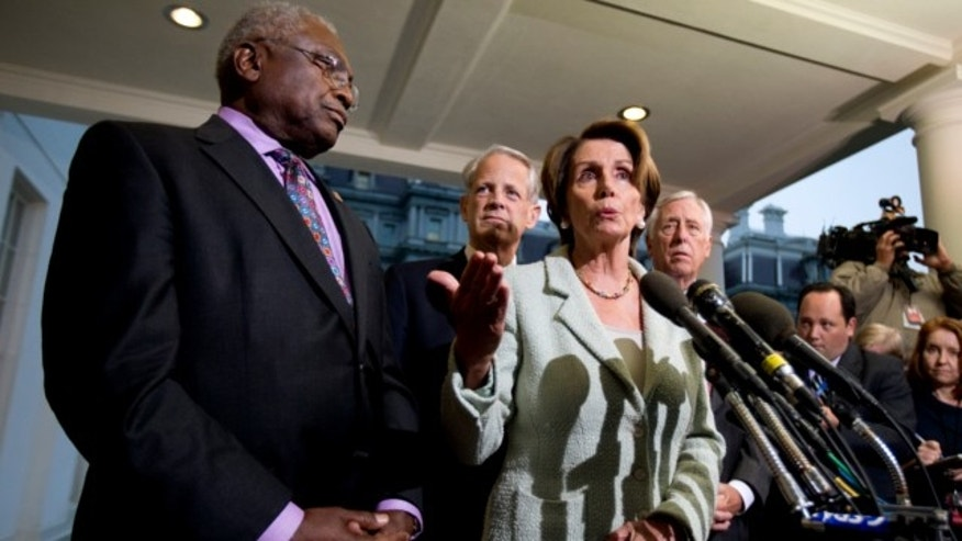Oct. 9, 2013: House Minority Leader Nancy Pelosi, D-Calif., front right, together with, from left, Assistant Minority Leader Rep. James Clyburn, D-S.C. Rep. Steve Israel, D-N.Y. House Minority Whip Rep. Steny Hoyer, D-Md., speaks to reporters following a meeting with President Obama at the White House in Washington,