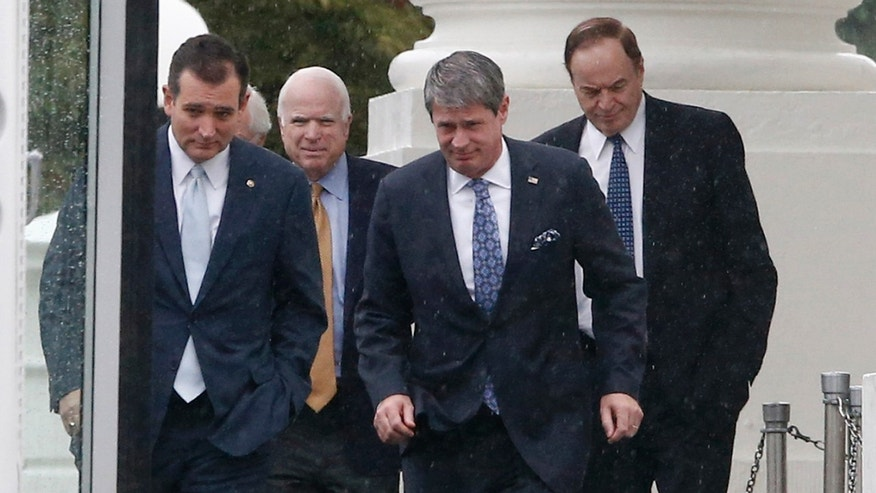 Republican senators, from left, Ted Cruz of Texas, John McCain of Arizona, David Vitter of Louisiana, and Richard Shelby of Alabama, after they met with President Barack Obama regarding the government shutdown and debt ceiling.