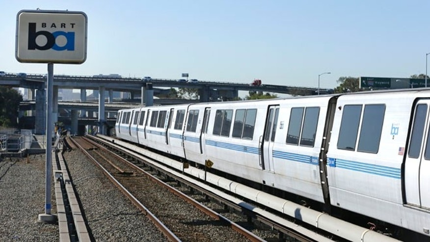 Oct. 15, 2013: A Bay Area Rapid Transit train leaves the station in Oakland, Calif.