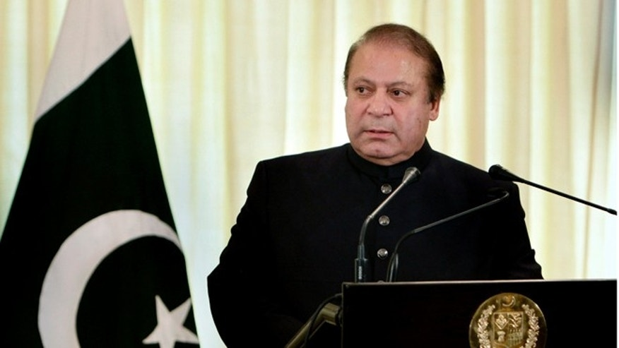 FILE: Aug. 26, 2013: Pakistani Prime Minister Nawaz Sharif at a joint press conference in Islamabad, Pakistan, with Afghan President Hamid Karzai.