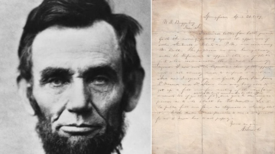 A newly unearthed letter from Abraham Lincoln shows politics was polarized even 164 years ago. (Courtesy The Raab Collection)
