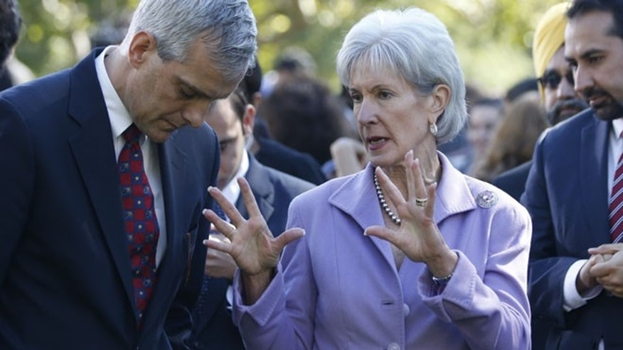 U.S. Health and Human Services Secretary Kathleen Sebelius at a healthcare event in the Rose Garden of the White House in Washington, October 21, 2013.