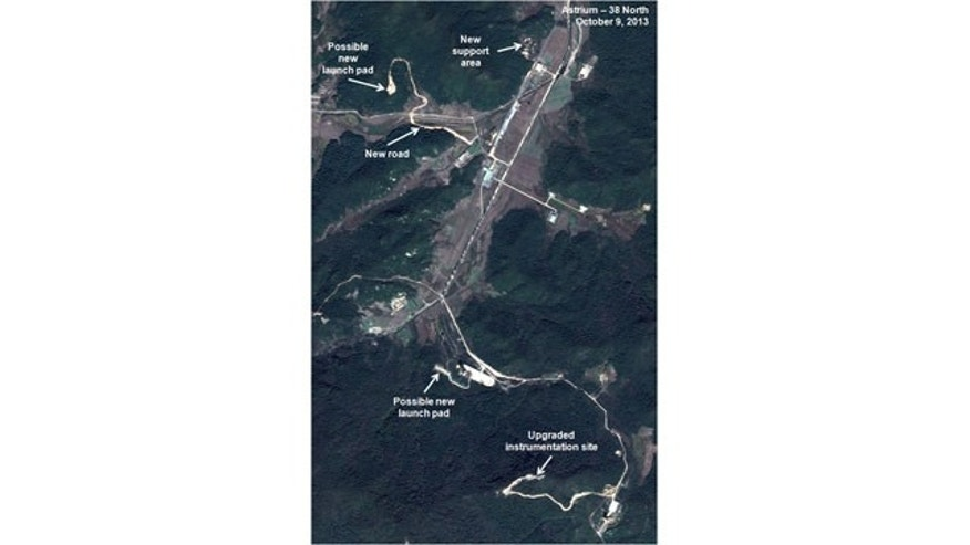 This Oct. 9, 2013 satellite image taken by Astrium, and annotated and distributed by 38 North shows the Sohae site where North Korea launched a long-range rocket into space in December 2012. (AP Photo/Astrium - 38 North)