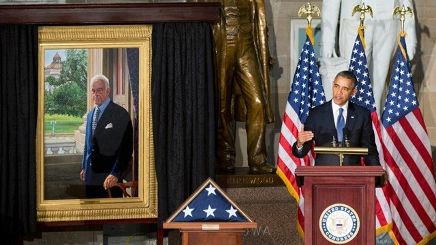 Oct. 29, 2013: President Barack Obama speaks in Statuary Hall on Capitol Hill in Washington during a memorial service for the late former House Speaker Thomas S. Foley.