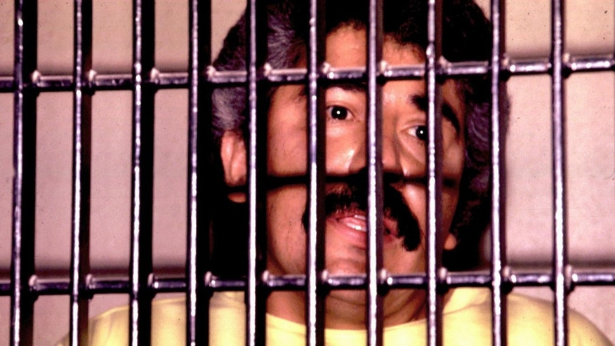 Mexican drug lord Rafael Caro Quintero is shown behind bars in this undated file photo. Quintero won an initial appeal against his conviction and 40 year sentence for the 1985 murder of U.S. DEA agent Enrique Camarena.