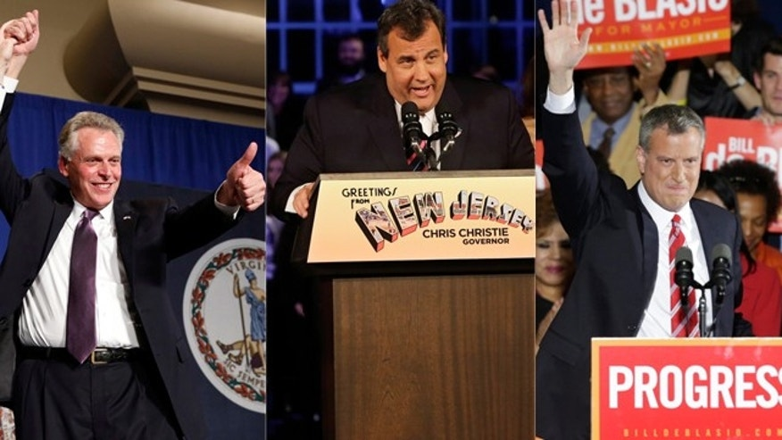 Virginia Democratic Governor-elect Terry McAuliffe, New Jersey Governor Chris Christie, and New York City Mayor Bill de Blasio. AP