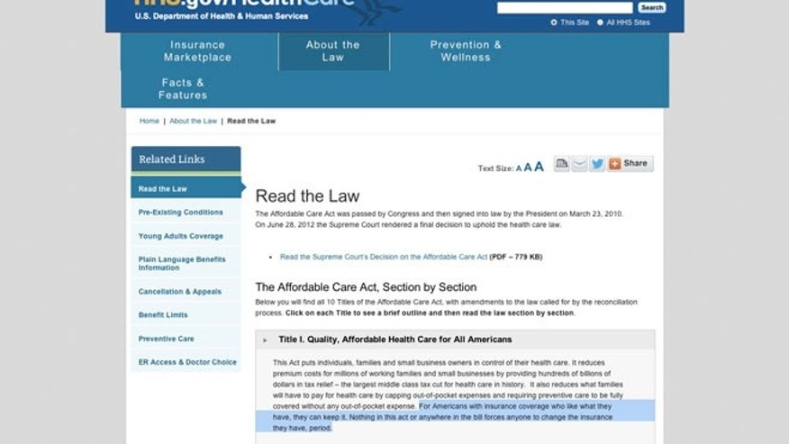 Screenshot of HHS.gov/healthcare taken on Nov. 7, 2013