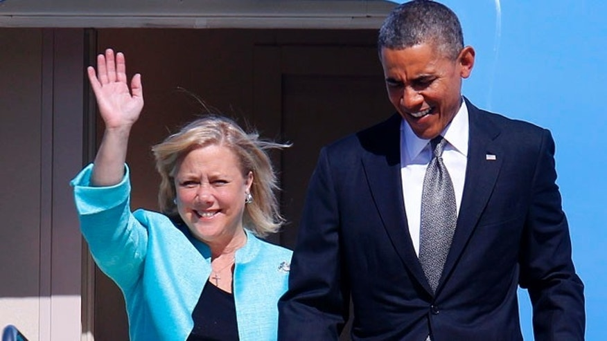 Sen. Mary Landrieu, D-La., with President Barack Obama aboard Air Force One at Louis Armstrong New Orleans International Airport, Friday, Nov. 8, 2013.