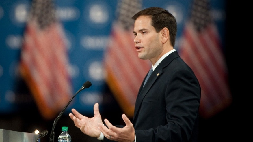 LAKE BUENA VISTA, FL - JUNE 22:  U.S. Sen. Marco Rubio (R-FL) addresses the audience at the 29th annual NALEO conference June 22, 2012 in Lake Buena Vista, Florida. NALEO (National Association of Latino Elected and Appointed Officials) also hosted presumptive Republican presidential nominee Gov. Mitt Romney on Thursday and U.S. President Obama on Friday. (Photo by Edward Linsmier/Getty Images)