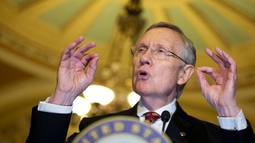 Nov. 19, 2013: Senate Majority Leader Harry Reid, D-Nev., speaks to the media on Capitol Hill in Washington.
