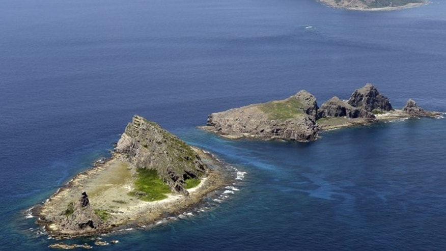 In this Sept. 2012 photo, the tiny islands in the East China Sea, called Senkaku in Japanese and Diaoyu in Chinese are seen.