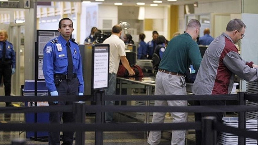 FILE: Nov. 15, 2010: TSA Transportation Security Officers, in blue uniforms, monitor airline passenger as they check-in at Washington's Ronald Reagan National Airport. Disabled travelers have filed complaints with the TSA over excessive screenings.