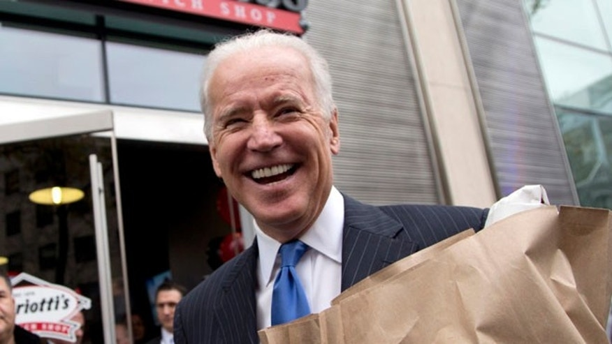 FILE: Nov. 21, 2013: Vice President Biden outside a sandwich shop in Washington, D.C.