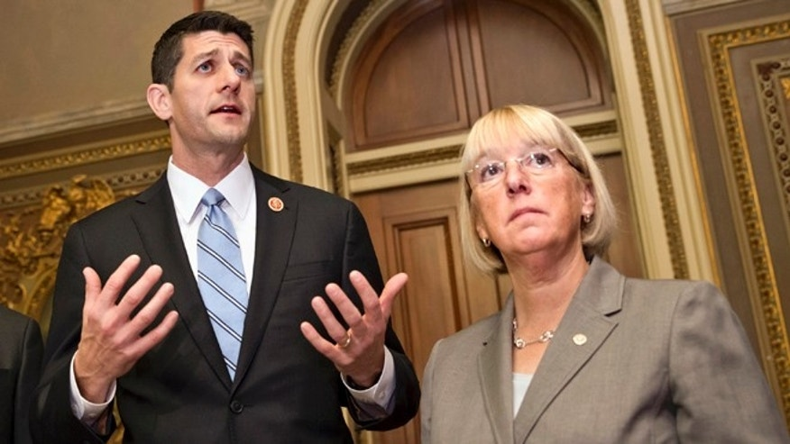 Oct. 17, 2013: House Budget Committee Chairman Rep. Paul Ryan, left, R-Wis., accompanied by Senate Budget Committee Chair Sen. Patty Murray, D-Wash., speaks on Capitol Hill.