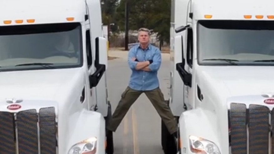 Shown here is an image from congressional candidate Mike Collins' web video spoofing Jean-Claude Van Damme's Volvo ad.