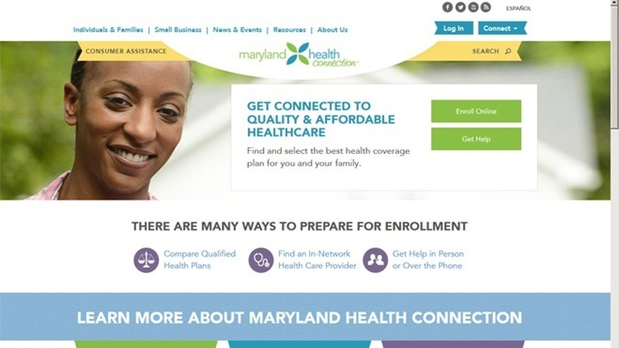 Dec. 7, 2013: A screen grab of the Maryland-run ObamaCare exchange, MarylandHeathConnection.gov