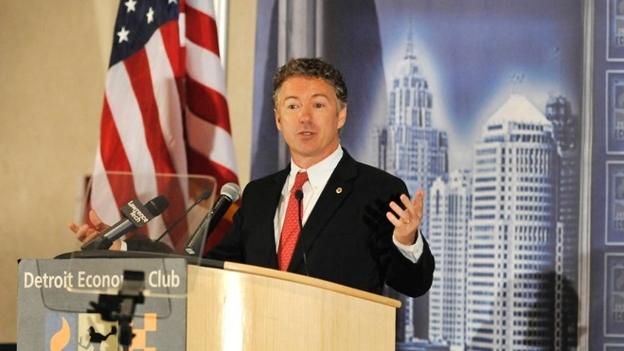 FILE: Dec. 6, 2013: Sen. Rand Paul, R-Ky., speaks at the Detroit Economic Club held at the Motor City Casino, in Detroit, Mich.