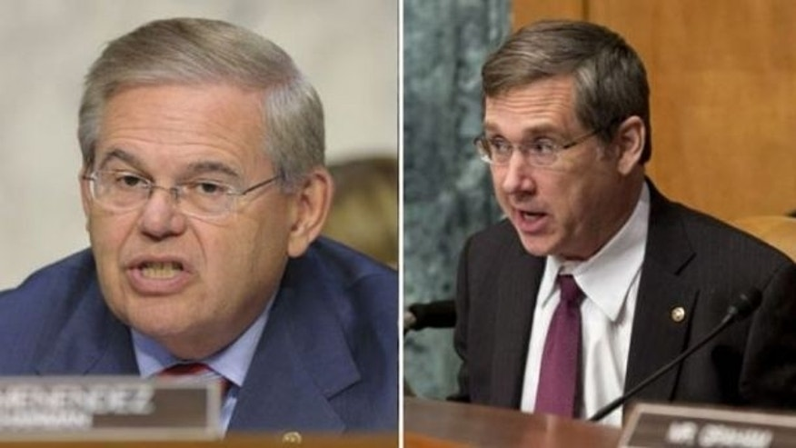 December 10, 2013: Sens. Robert Menendez, left, R-N.J., and Mark Kirk, R-Ill. (AP)