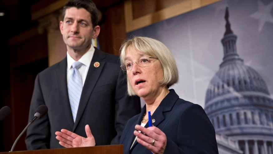 House Budget Committee Chairman Paul Ryan, R-Wis., left, and Senate Budget Committee Chairwoman Patty Murray, D-Wash., announce a tentative agreement between Republican and Democratic negotiators on a government spending plan, at the Capitol in Washington, Tuesday, Dec. 10, 2013. Negotiators reached the modest budget agreement to restore about $65 billion in automatic spending cuts from programs ranging from parks to the Pentagon, with votes expected in both houses by week's end. (AP Photo/J. Scott Applewhite)